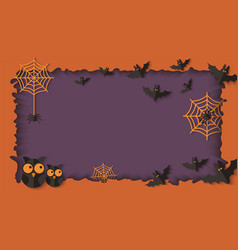 Paper cut layers in halloween frame with owls and vector