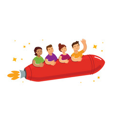 people fly on rocket to success teamwork vector image