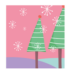 pine trees snowflakes celebration merry christmas vector image