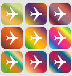 Plane icon Nine buttons with bright gradients for vector image
