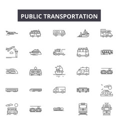 public transportation line icons signs vector image