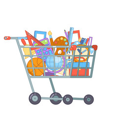 purchase goods shopping cart preparation education vector image