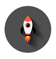 rocket space ship icon in flat style spaceship vector image