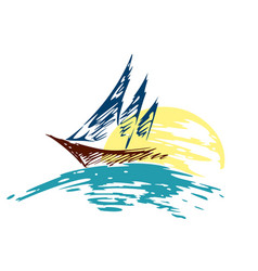 Sailing vessel logo in the sea vector