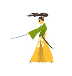 samurai cartoon character with katana japanese vector image
