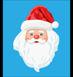 santa claus head with beard and red hat vector image