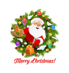 santa with gifts in christmas wreath frame vector image