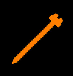 screw sign orange icon on black vector image