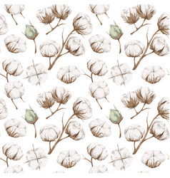 Seamless cotton pattern vector