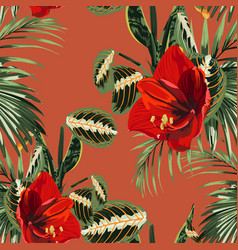 seamless pattern red lilies flowers vector image