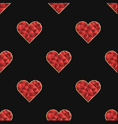 seamless pattern with polygonal red heart vector image