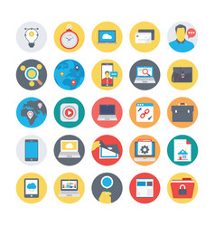 Seo and marketing flat circular icons 3 vector