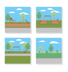 Set a parks with trees design vector