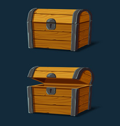 set isolated wooden chest or trunkpirate crate vector image