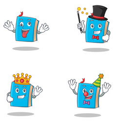 Set of blue book character with crazy magician vector