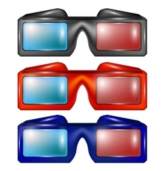 Set of Colorful Glasses for Watching Movies vector image