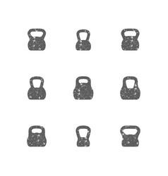 Set of grunge kettle bells vector