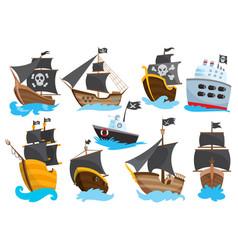 Set wooden pirate buccaneer filibuster corsair vector