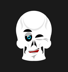 Skull winks emoji skeleton head happy emotion vector
