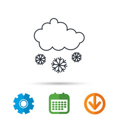Snow icon snowflakes with cloud sign vector