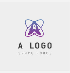 Space force logo a initial design galaxy rocket vector