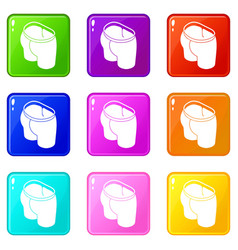 Sport short icons set 9 color collection vector