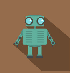 steel robot icon flat style vector image
