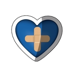 Sticker in heart shape with couple cures in vector