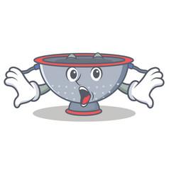 Surprised colander utensil character cartoon vector