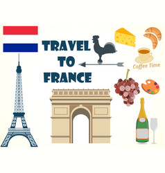Symbols of france set tourism vector
