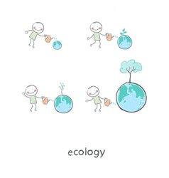 The concept of ecological restoration A man vector image