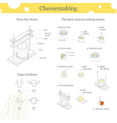The process of cheese production vector