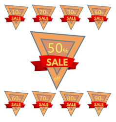 triangular orange badges with red ribbon vector image