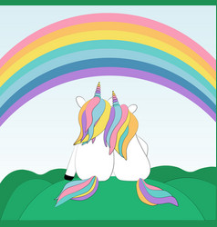 Two enamored unicorns watching the rainbow vector