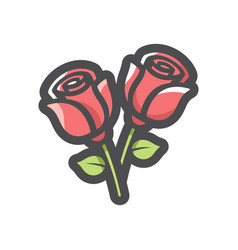 two red roses icon cartoon vector image