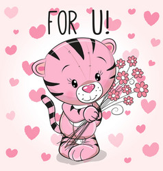 Valentine card cute cartoon tiger with flowers vector