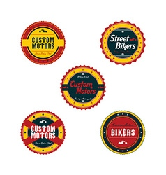 Vintage motorcycle badge theme set vector