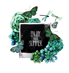 Watercolor design with succulents and photo vector image