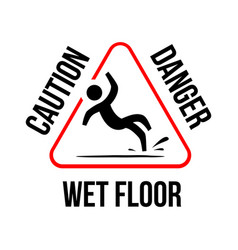 Wet floor logo sign yellow triangle with falling vector