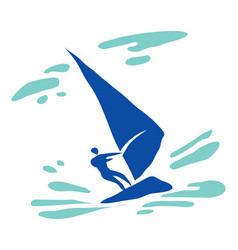 windsurfer in the sea vector image