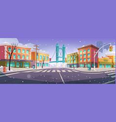 Winter brooklyn crossroad and bridge city view vector