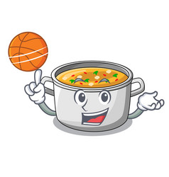 with basketball vegetable soup with pasta in pot vector image