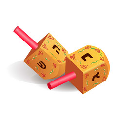 Wood traditional dreidel icon realistic style vector