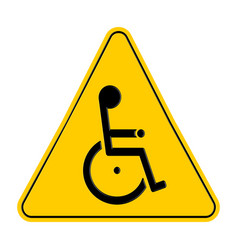 Yellow triangle warning signs with handicapped vector