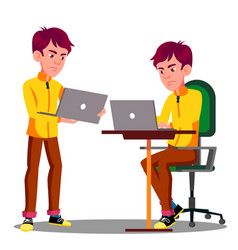 young male student sad with laptop problem vector image
