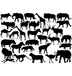 african wildlife silhouettes vector image vector image
