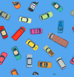 cartoon style cars on blue background vector image