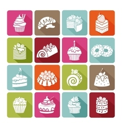 Flat dessert icons of cakes for bakeries and vector image vector image