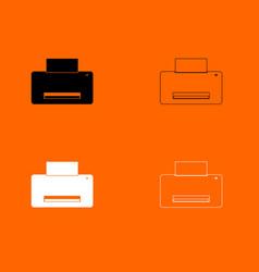 printer black and white set icon vector image vector image