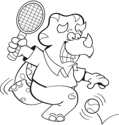 Cartoon triceratops playing tennis vector image vector image